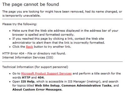 standaard 404 pagina